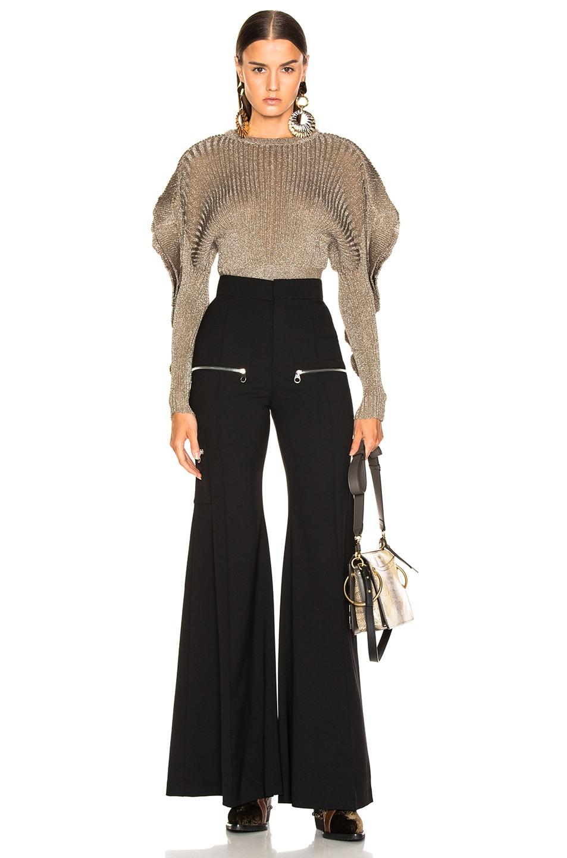 Image 4 of Chloe High Rise Zip Detail Flared Pants in Black