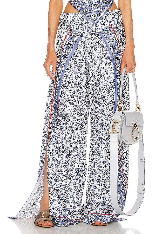 Image 1 of Chloe Bandana Print Pant in Blue & White