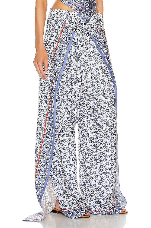 Image 2 of Chloe Bandana Print Pant in Blue & White