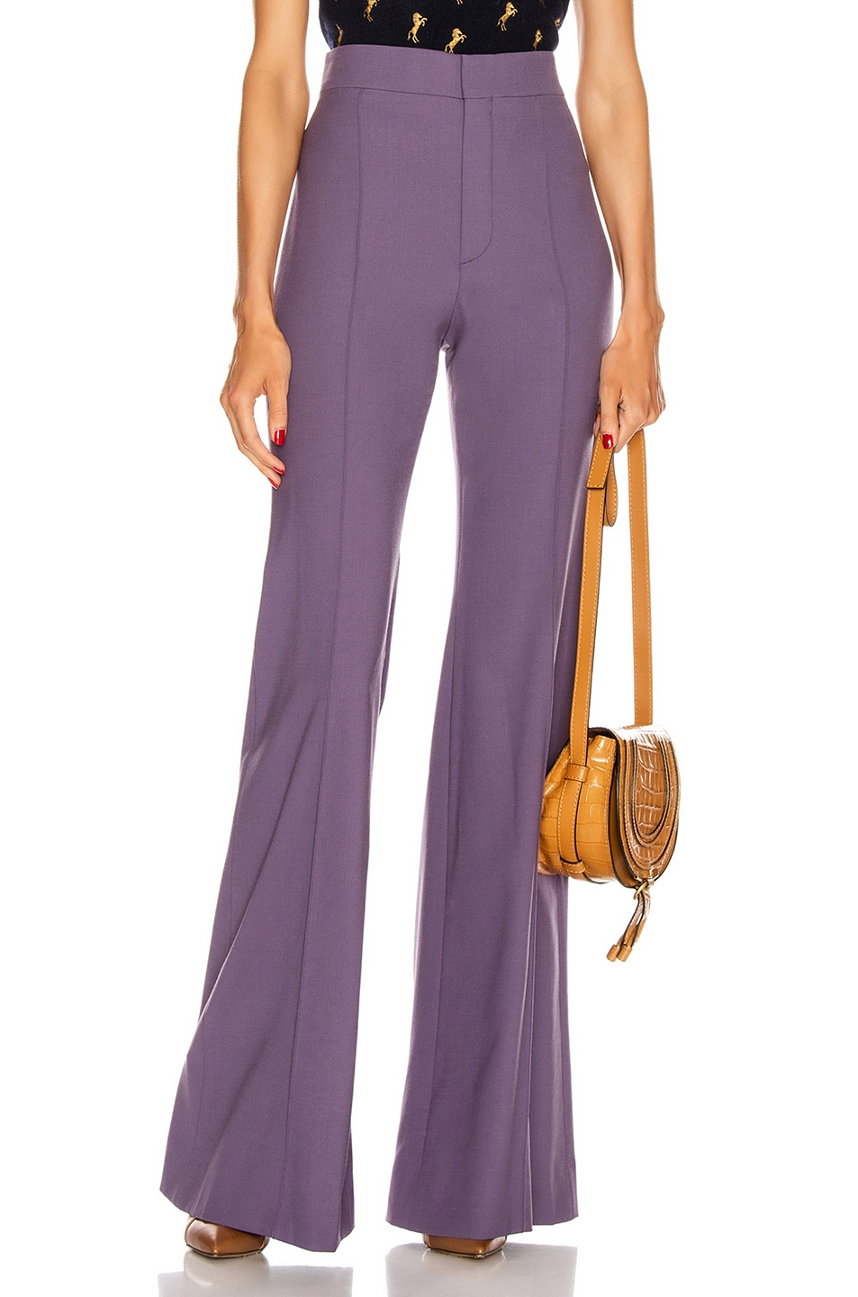 Image 1 of Chloe Tailored Flare Pant in Shadow Purple