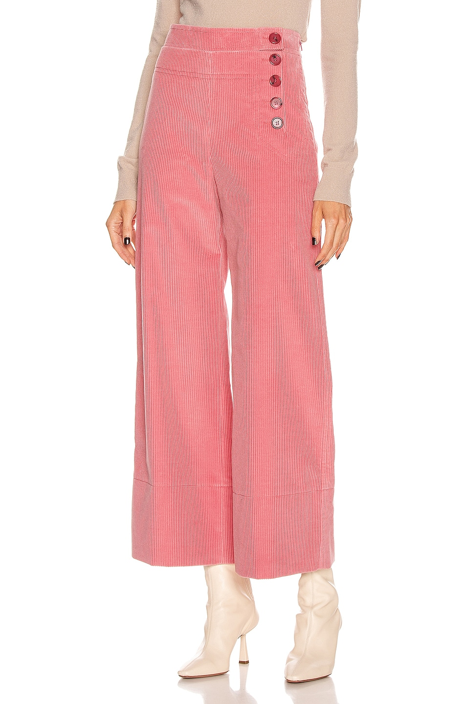 Image 1 of Chloe Crop Button Pant in Burnt Rose