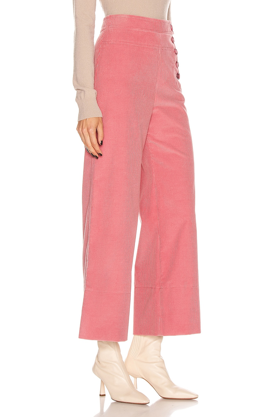 Image 2 of Chloe Crop Button Pant in Burnt Rose
