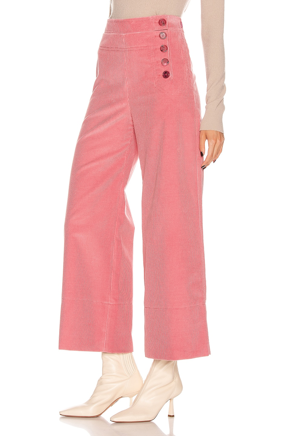 Image 3 of Chloe Crop Button Pant in Burnt Rose