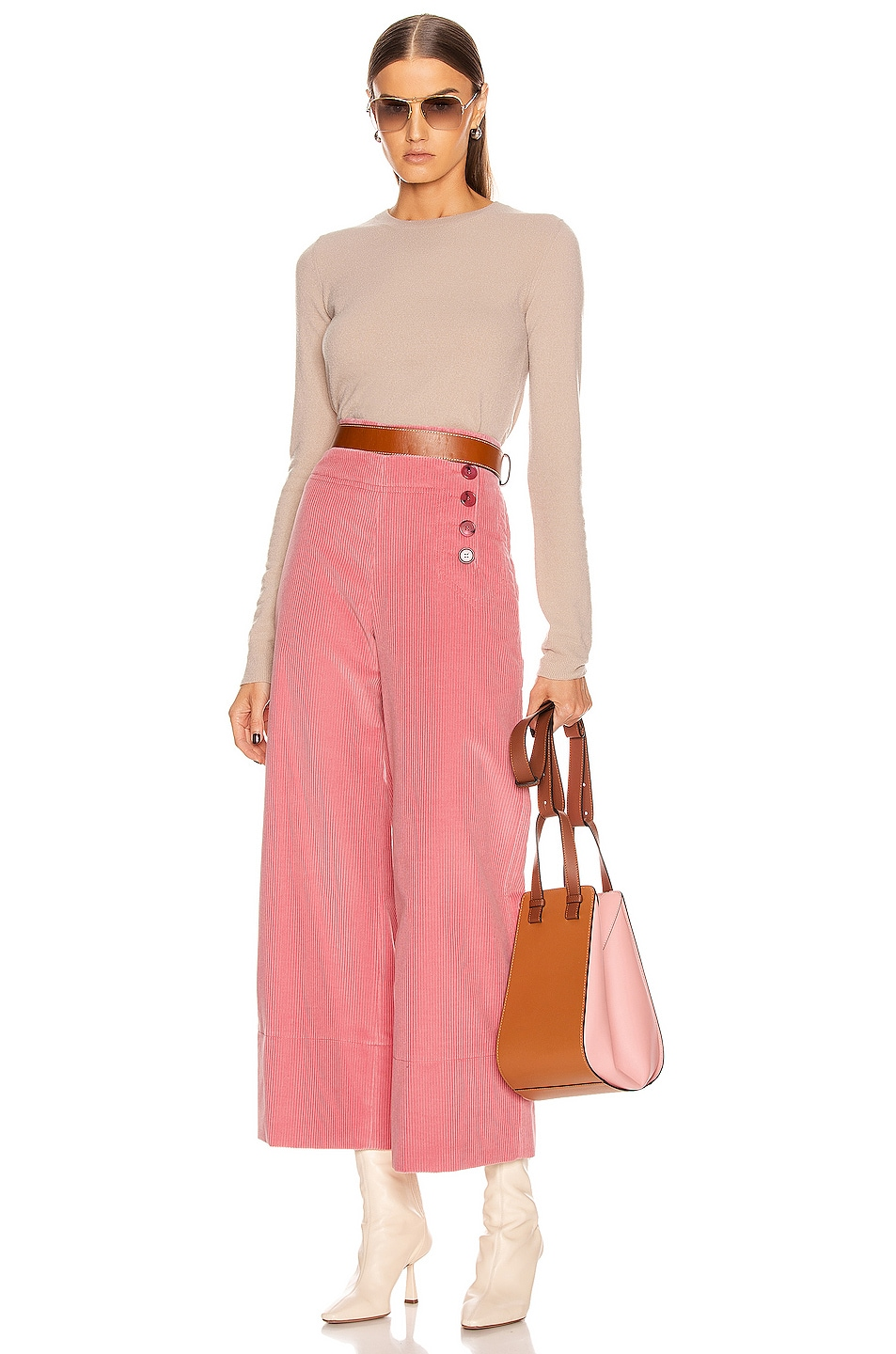 Image 5 of Chloe Crop Button Pant in Burnt Rose