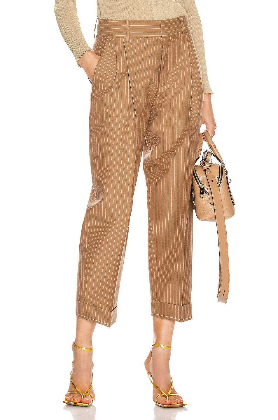 Image 1 of Chloe Pinstripe Tailored Pant in Hevea Brown