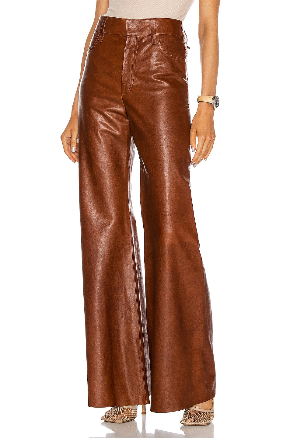 Image 1 of Chloe Leather Pant in Sharp Brown