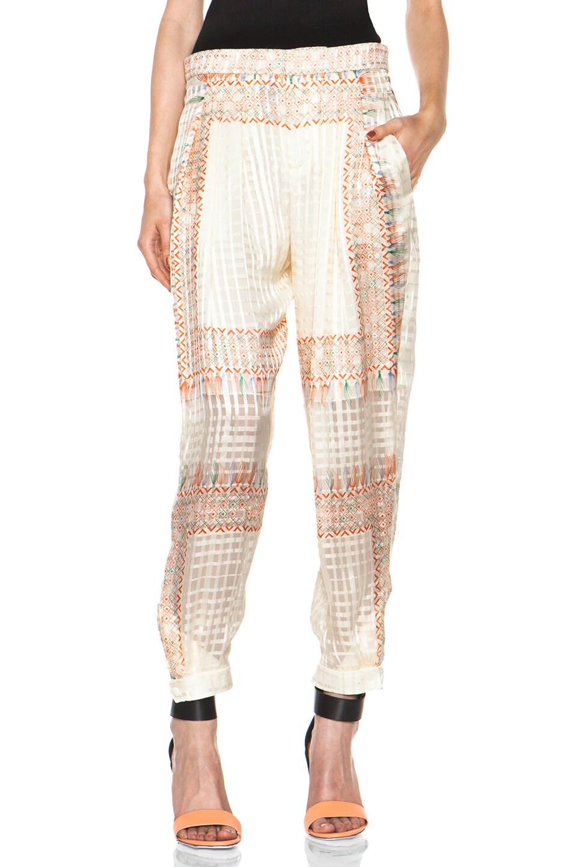 Image 1 of Chloe Tassel Print Chiffon Pant in Neon Orange