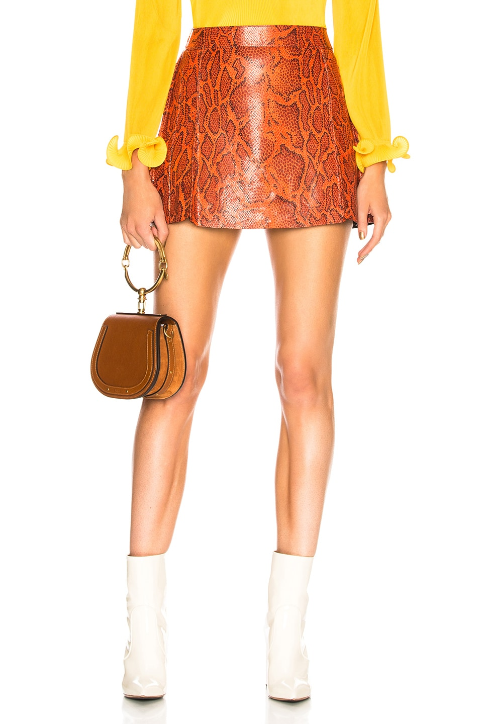 Image 1 of Chloe Snakeskin Printed Leather Mini Skirt in Cranberry Pink