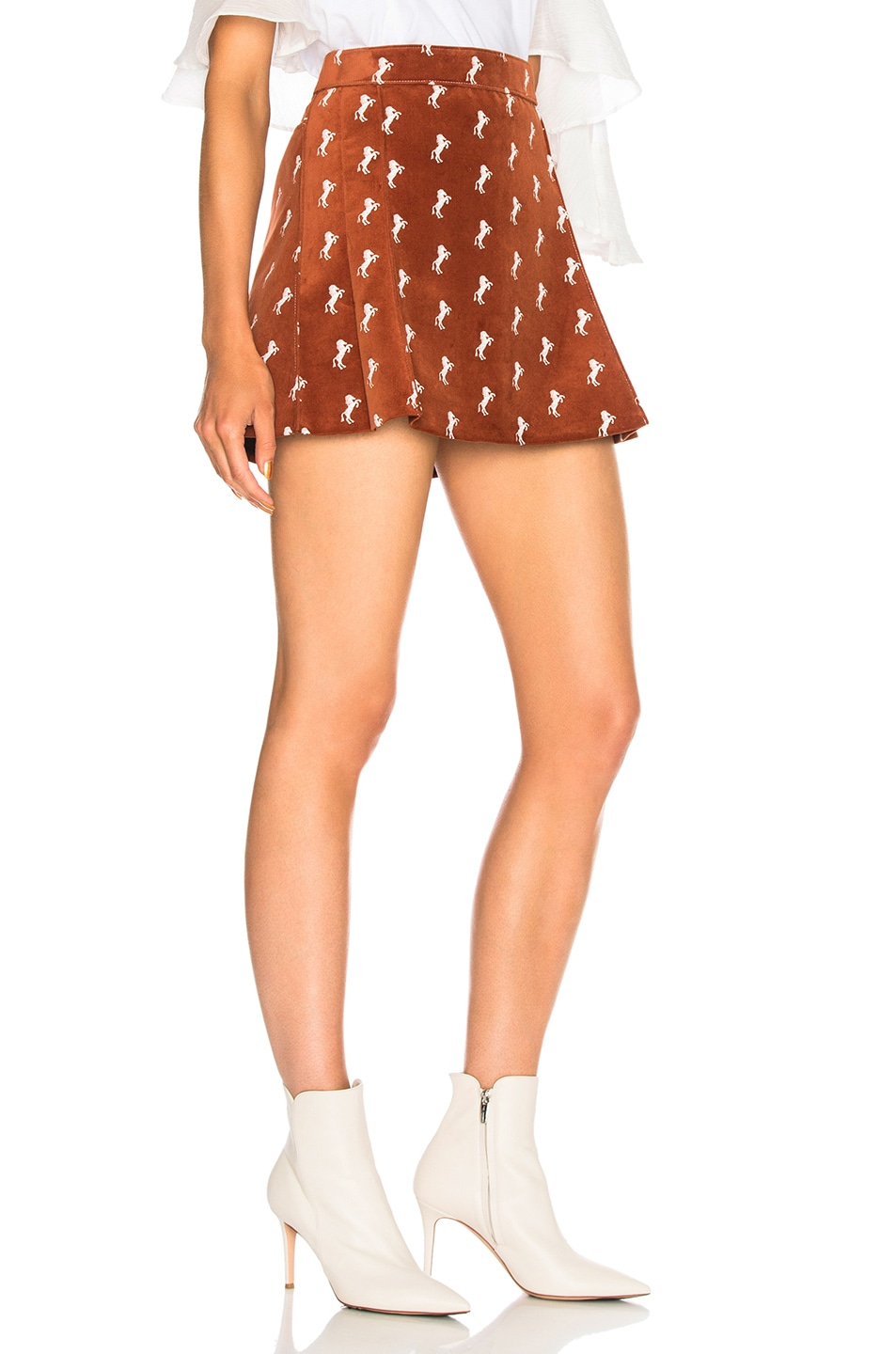 78a7a34944 Chloe Horse Embroidered Mini Skirt in Crimson Brown | FWRD