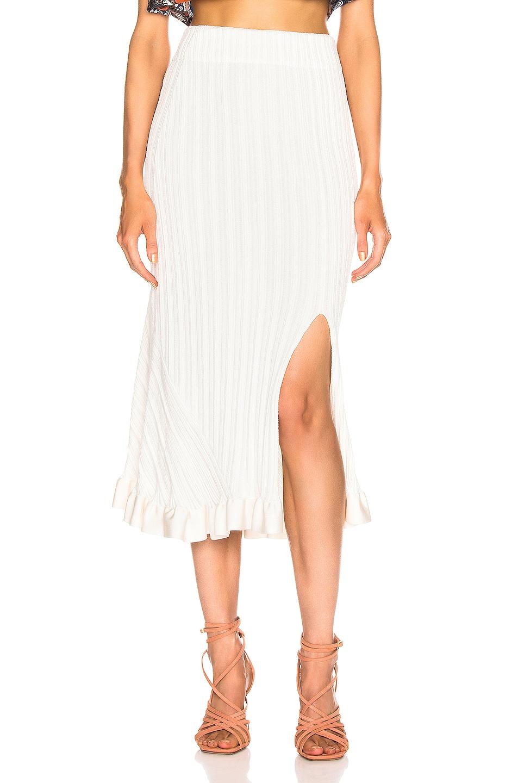 Image 1 of Chloe Ruffle Midi Skirt in Dusty White