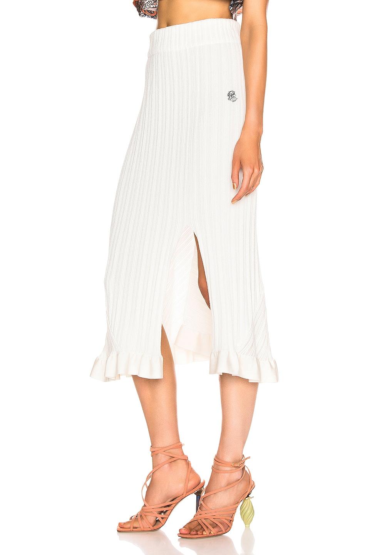 Image 3 of Chloe Ruffle Midi Skirt in Dusty White