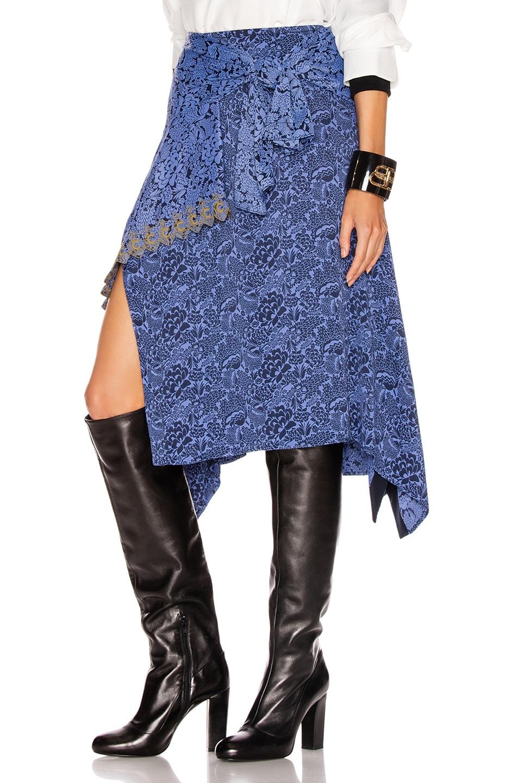 Image 3 of Chloe Tie Midi Skirt in Multicolor Blue