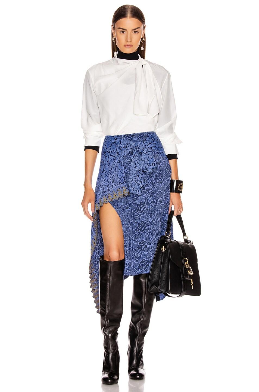 Image 5 of Chloe Tie Midi Skirt in Multicolor Blue