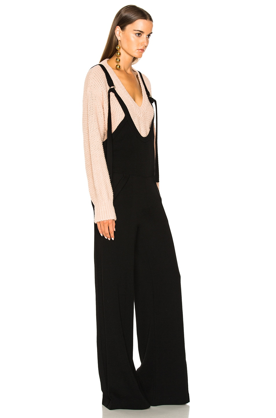 Image 2 of Chloe Fluid Knit Jumpsuit in Black