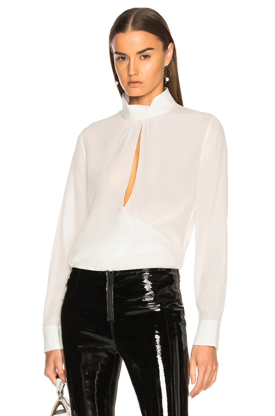 Chloe Crepe de Chine Keyhole Blouse in White