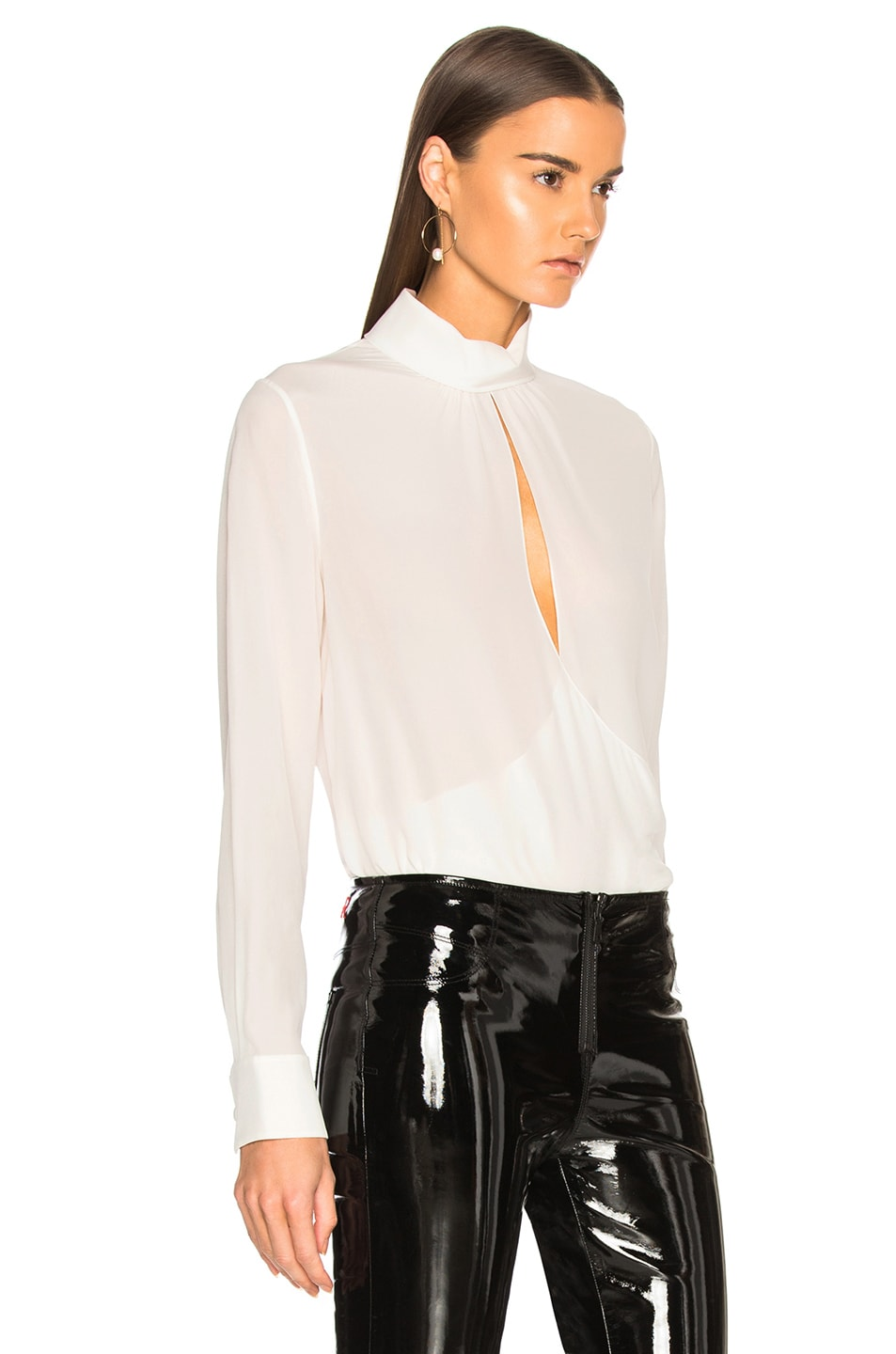 Image 2 of Chloe Crepe de Chine Keyhole Blouse in Iconic Milk