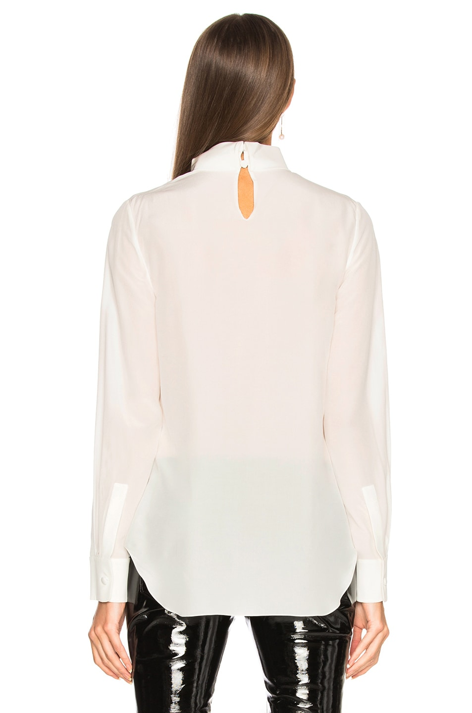 Image 3 of Chloe Crepe de Chine Keyhole Blouse in Iconic Milk
