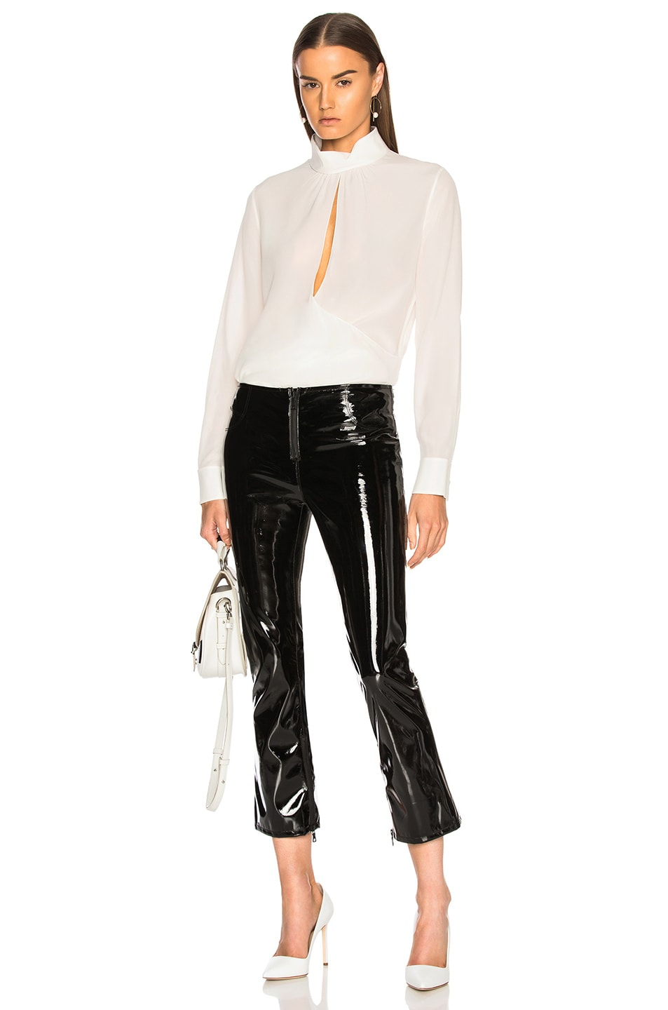 Image 4 of Chloe Crepe de Chine Keyhole Blouse in Iconic Milk
