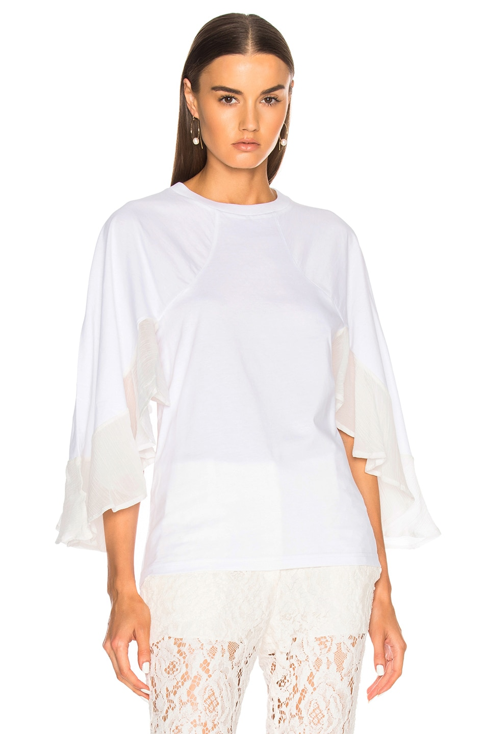Chloe Jersey Blouse with Crepon Sleeves in White