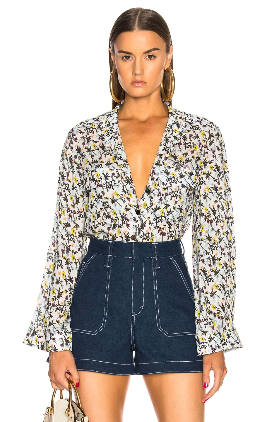 Chloe Floral Print Collarless Shirt in Blue