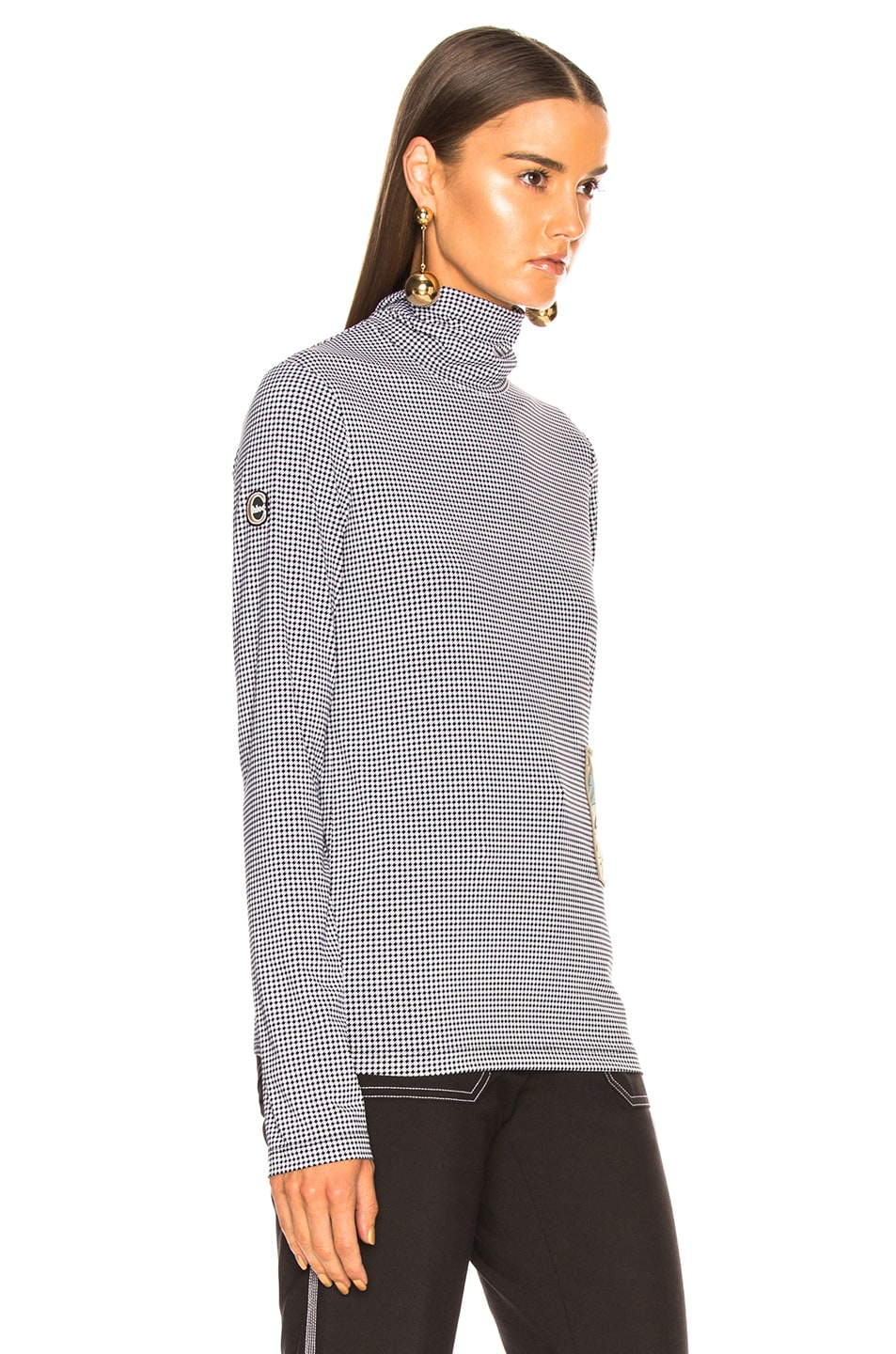 Image 2 of Chloe Houndstooth Print Superfine Jersey Turtleneck Top in White & Black