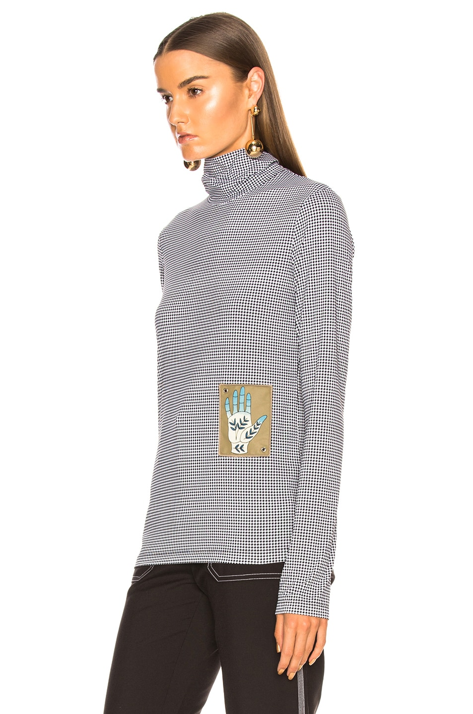 Image 3 of Chloe Houndstooth Print Superfine Jersey Turtleneck Top in White & Black