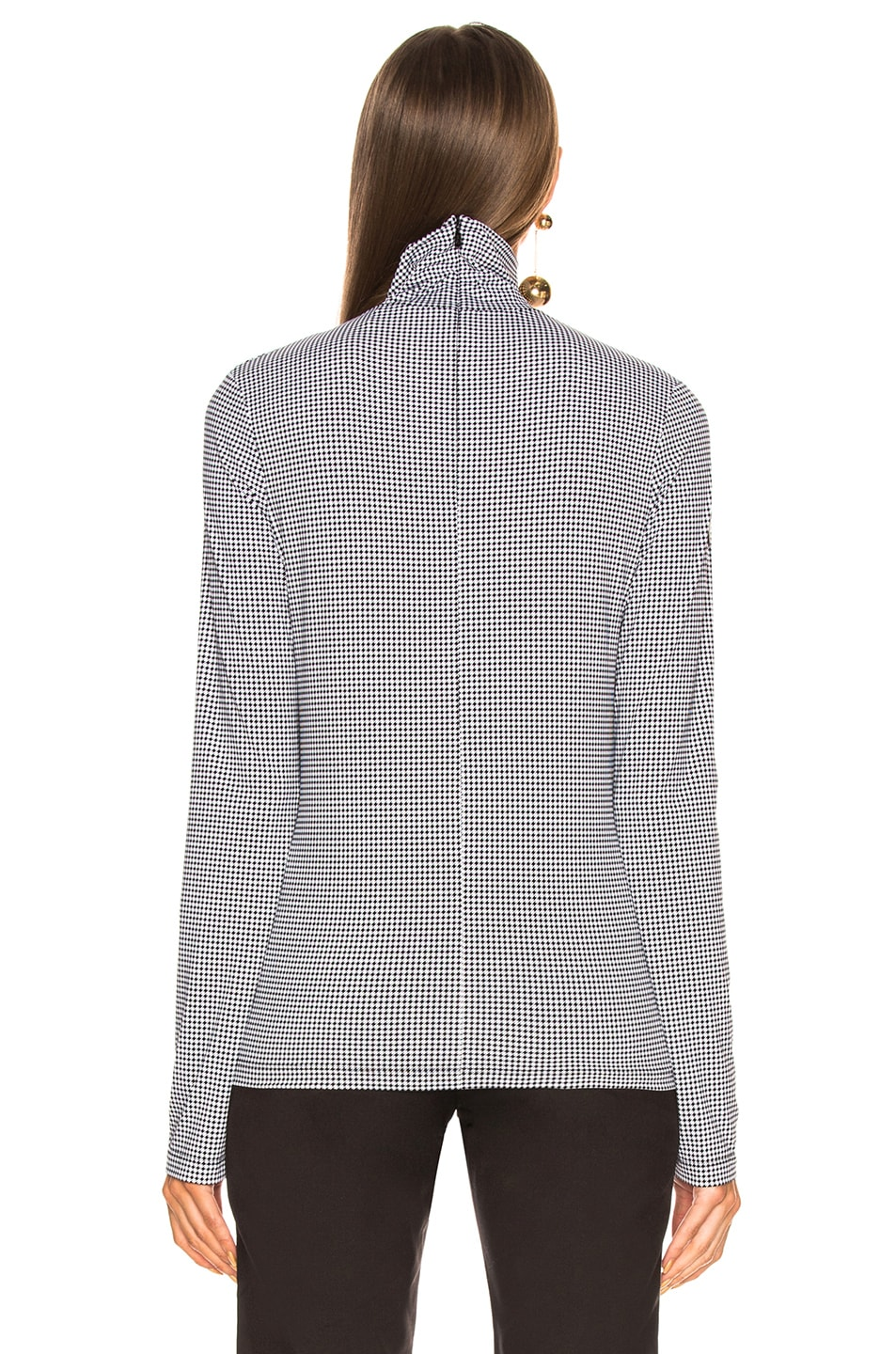Image 4 of Chloe Houndstooth Print Superfine Jersey Turtleneck Top in White & Black