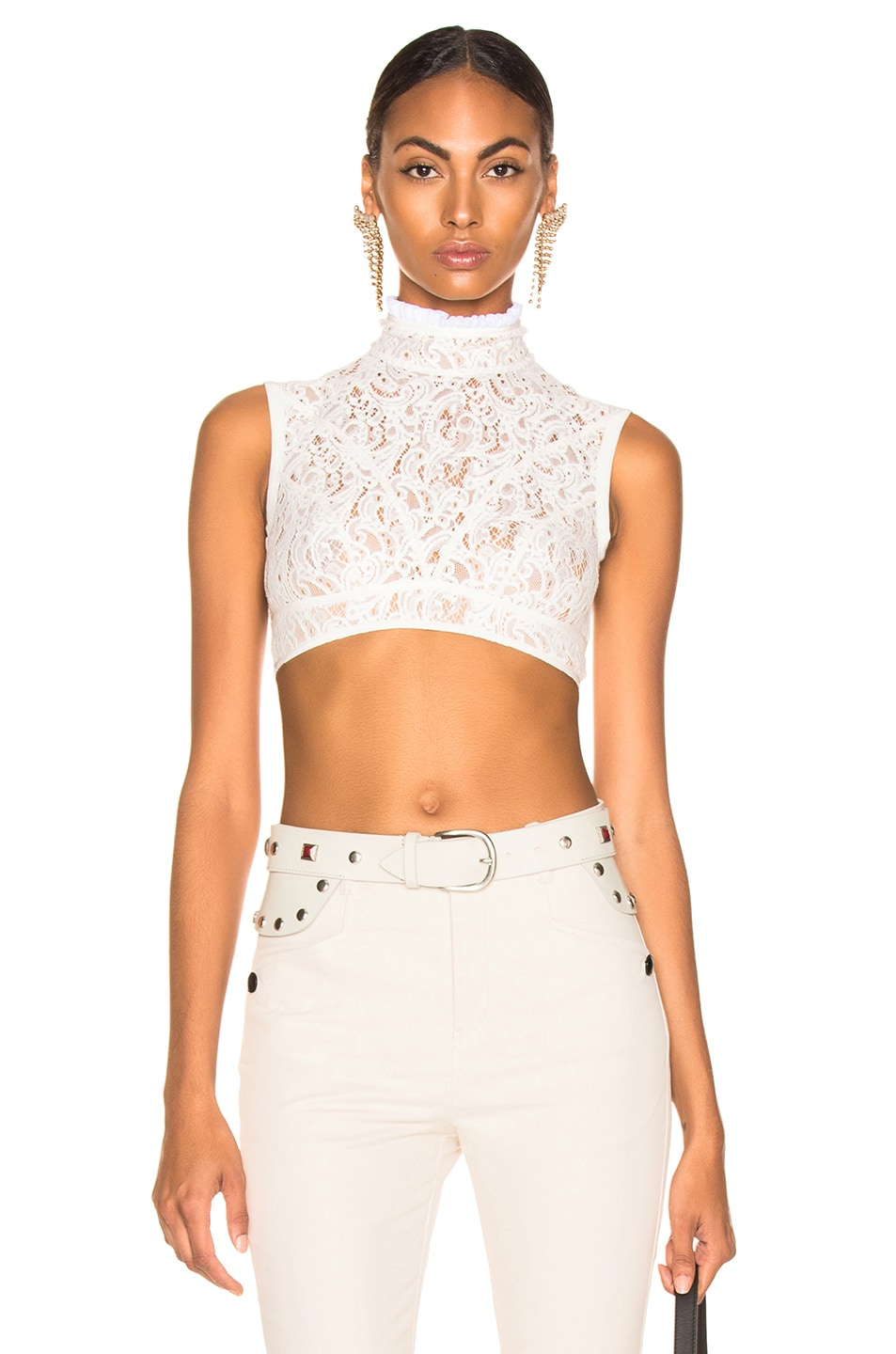 Image 1 of Chloe Lace & Jersey Sleeveless Crop Top in Iconic Milk