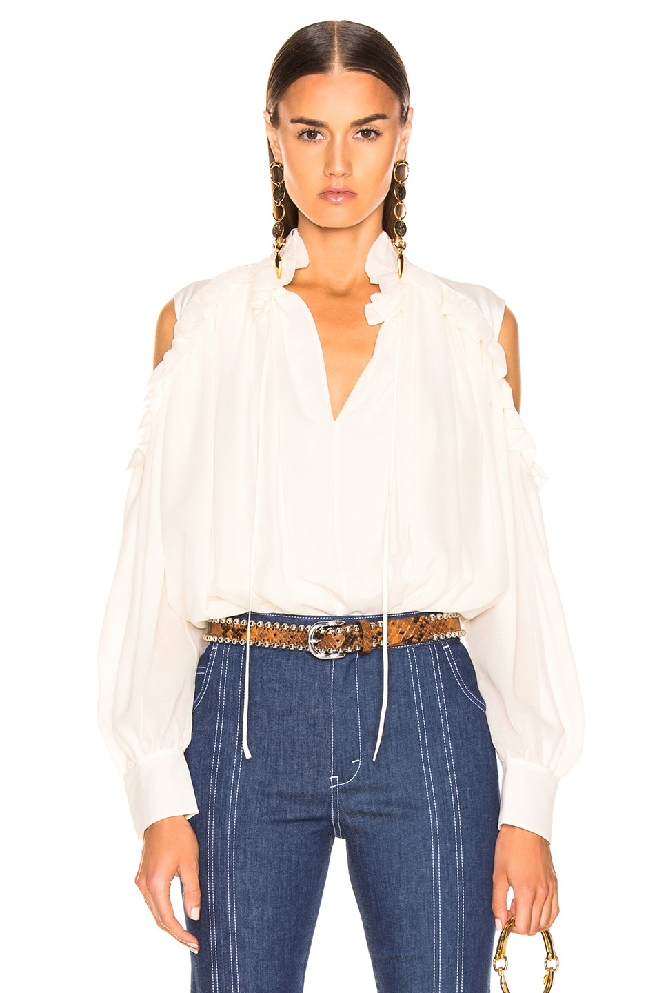 Image 1 of Chloe Silk Blouse in Dusty White