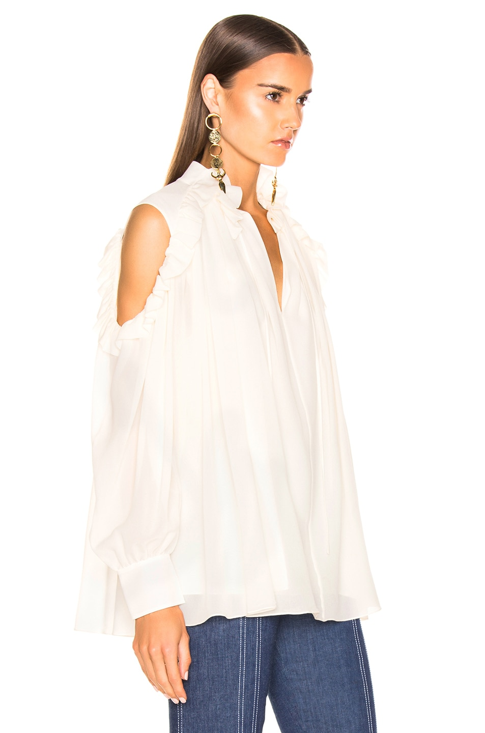 Image 2 of Chloe Silk Blouse in Dusty White
