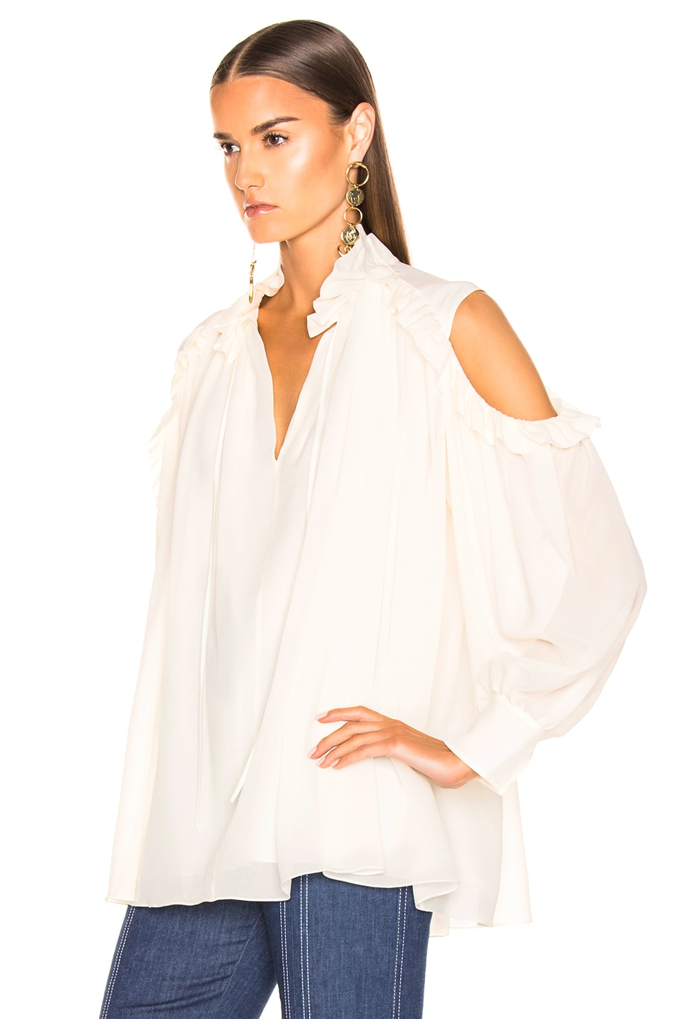 Image 3 of Chloe Silk Blouse in Dusty White