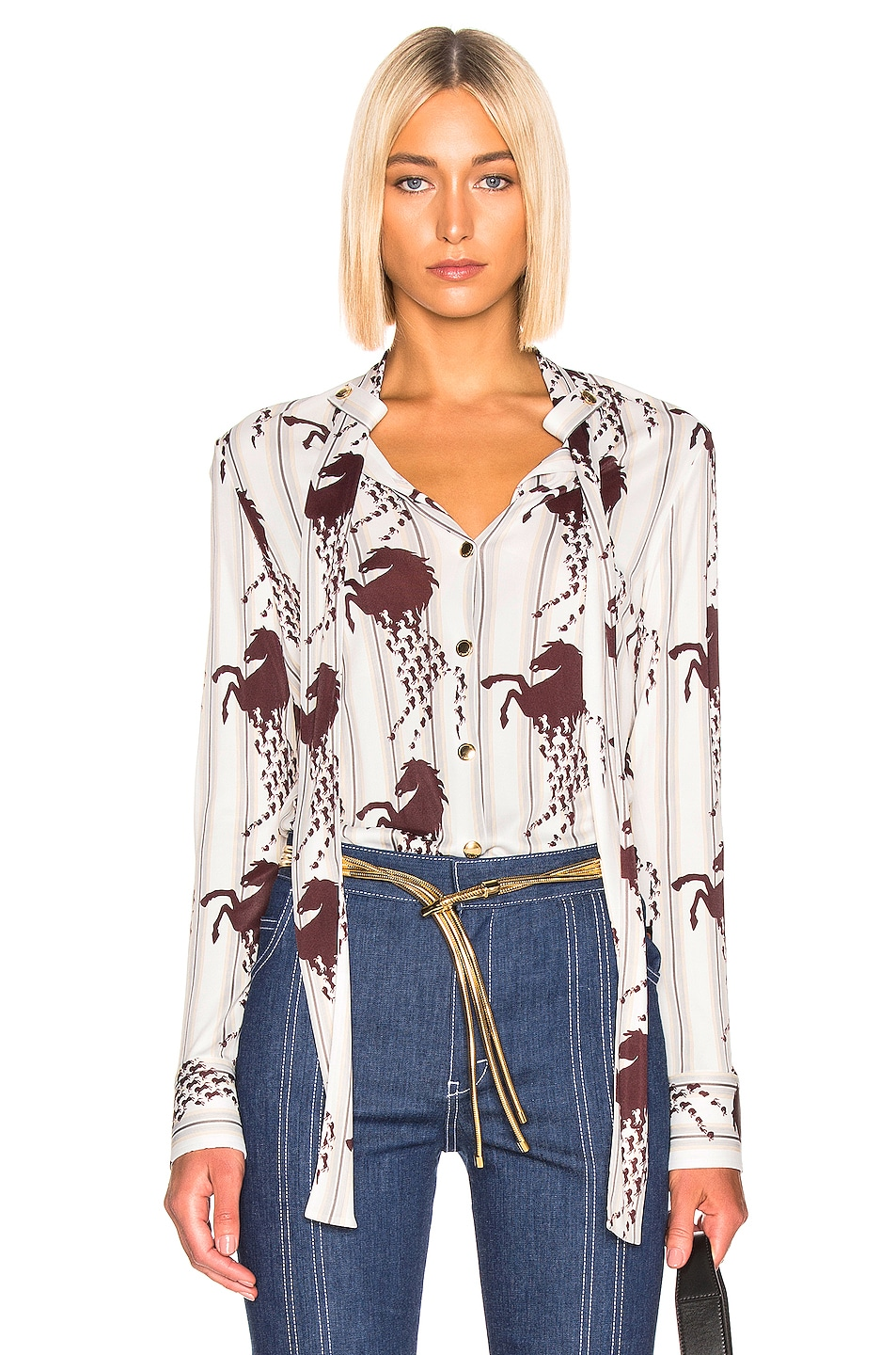 Image 1 of Chloe Horse & Stripe Print Top in White & Brown