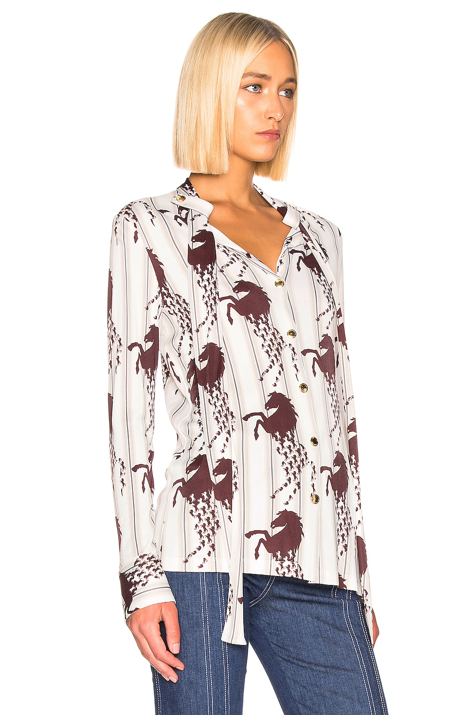 Image 2 of Chloe Horse & Stripe Print Top in White & Brown