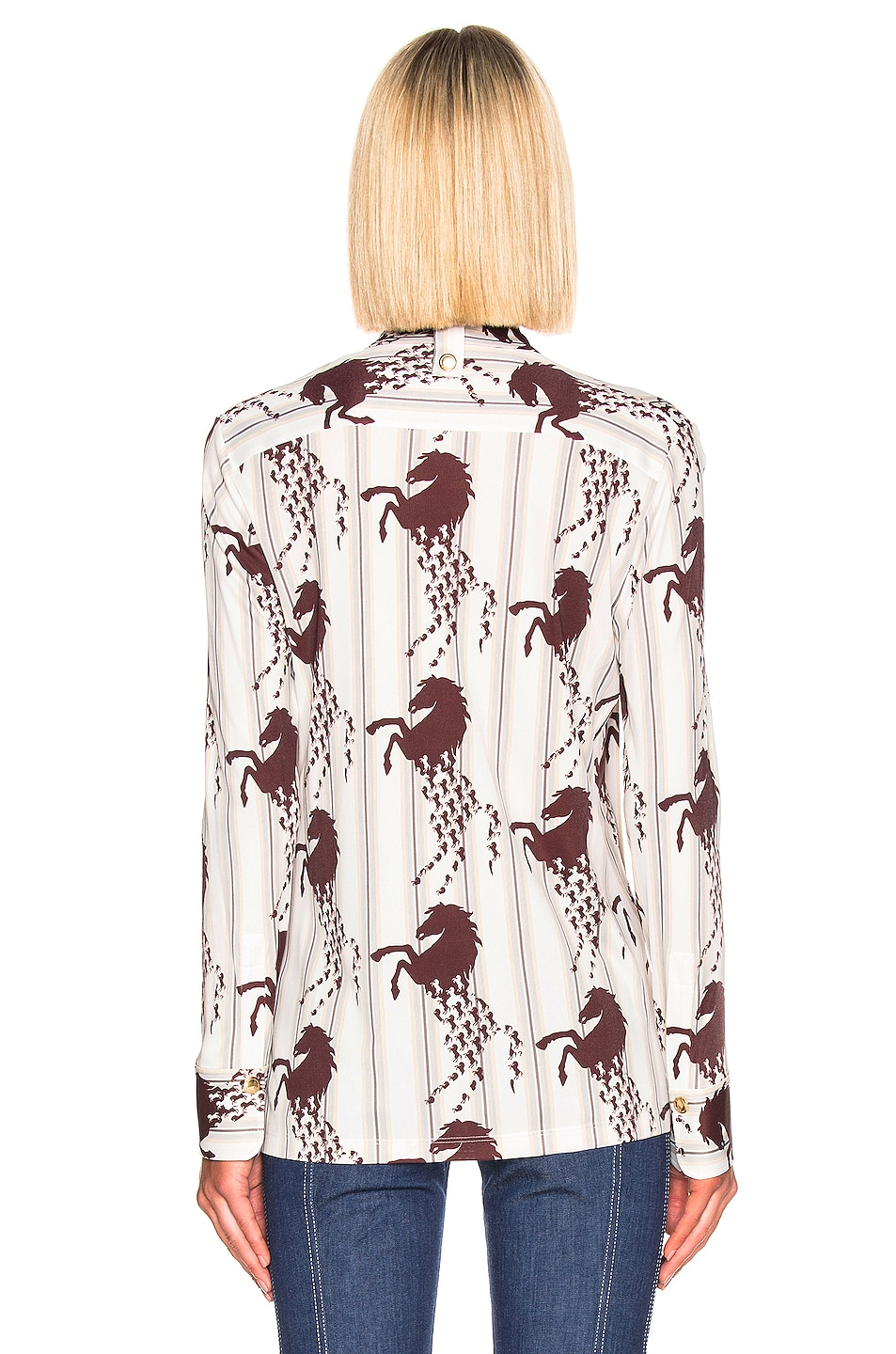 Image 3 of Chloe Horse & Stripe Print Top in White & Brown