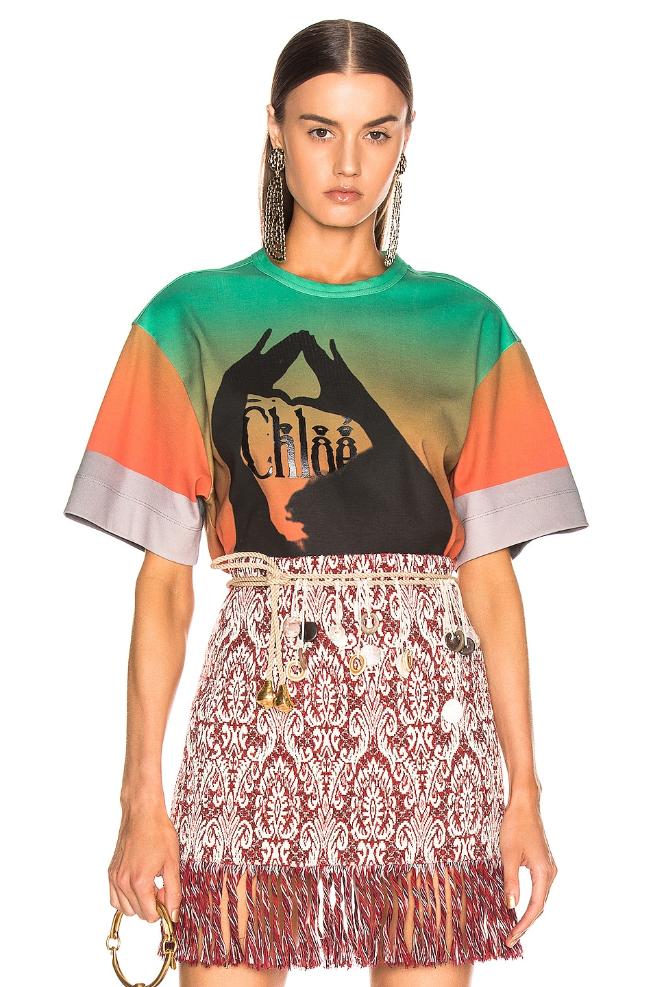 83cf02f5ca9e7 Image 1 of Chloe Logo Color Top in Green & Red