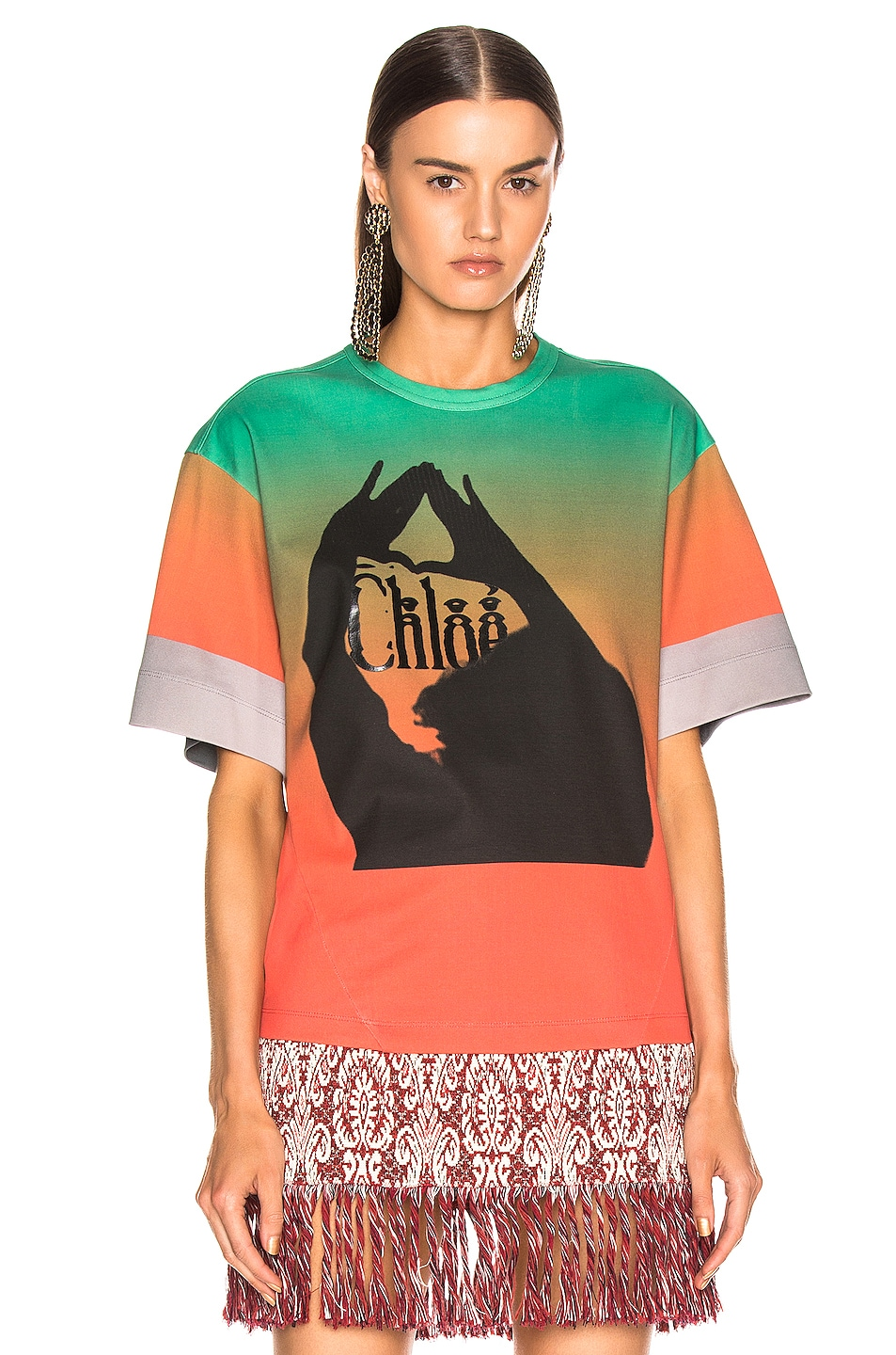 Image 2 of Chloe Logo Color Top in Green & Red