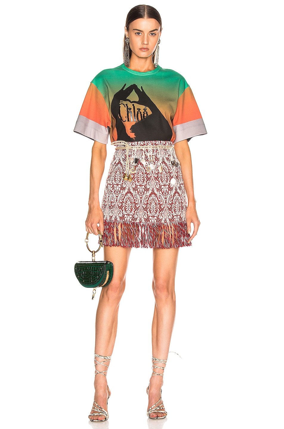 Image 5 of Chloe Logo Color Top in Green & Red