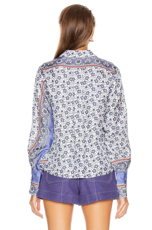 Image 3 of Chloe Bandana Print Blouse in Blue & White
