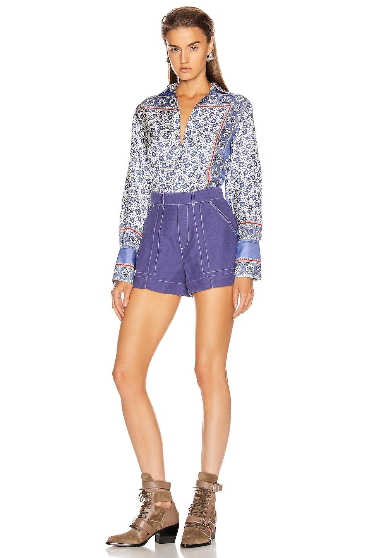 Image 4 of Chloe Bandana Print Blouse in Blue & White