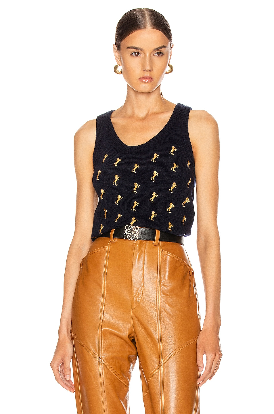 Image 1 of Chloe Sleeveless Embroidered Horse Top in Evening Blue