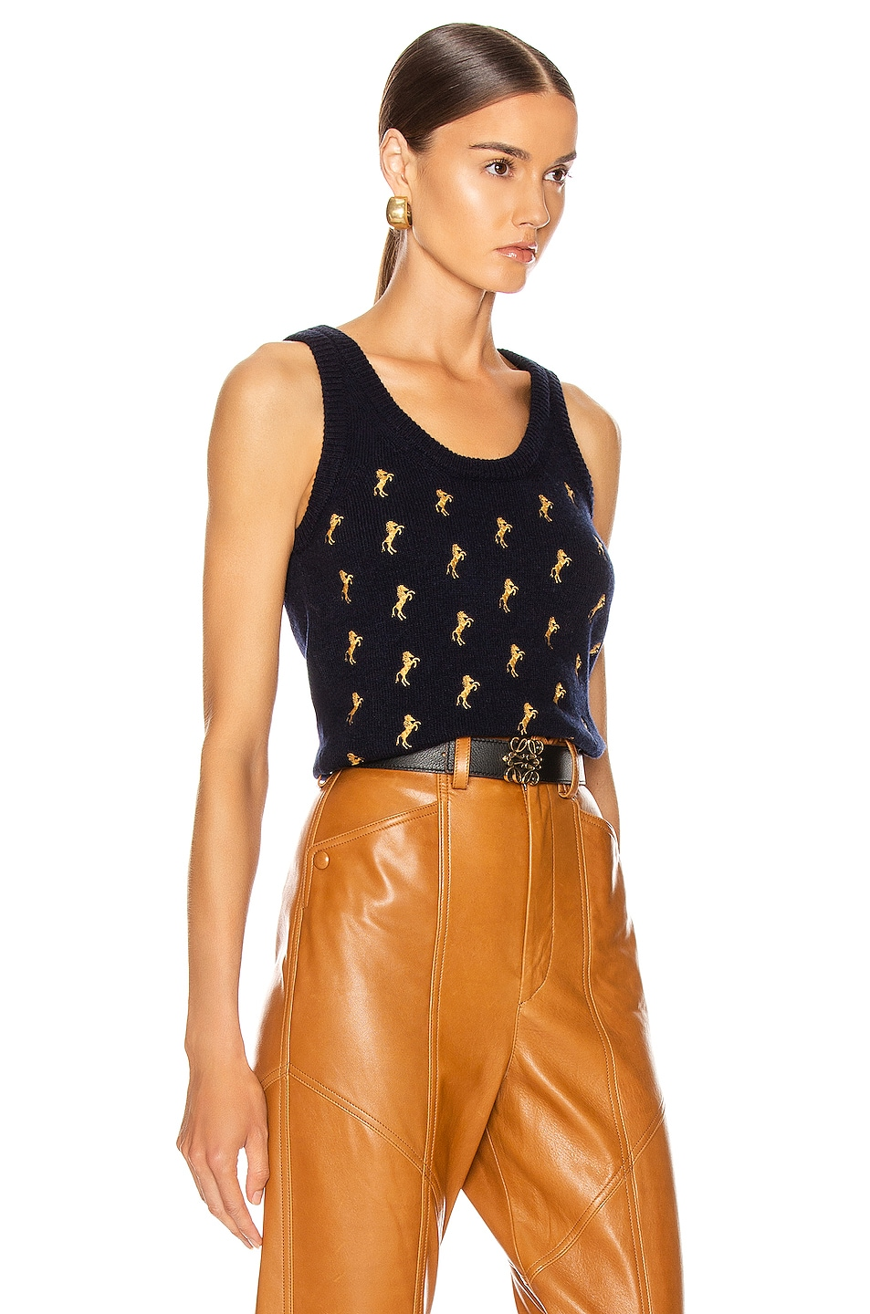Image 2 of Chloe Sleeveless Embroidered Horse Top in Evening Blue