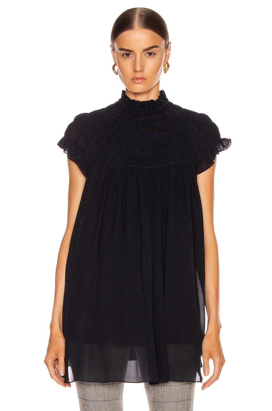 Image 2 of Chloe Mock Neck Pleat Top in Anthracite Blue