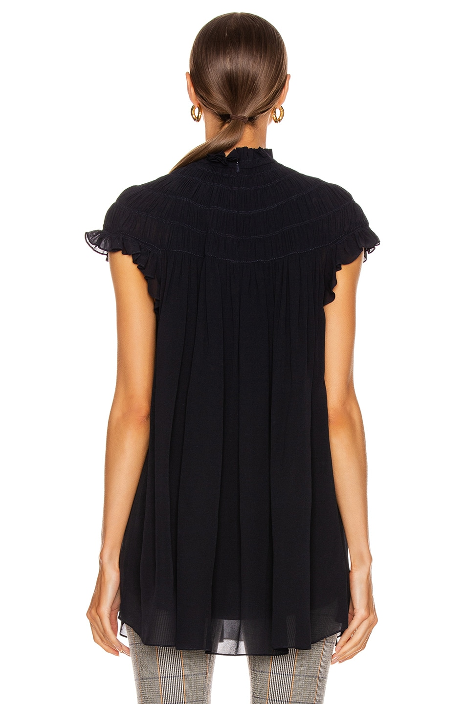 Image 4 of Chloe Mock Neck Pleat Top in Anthracite Blue