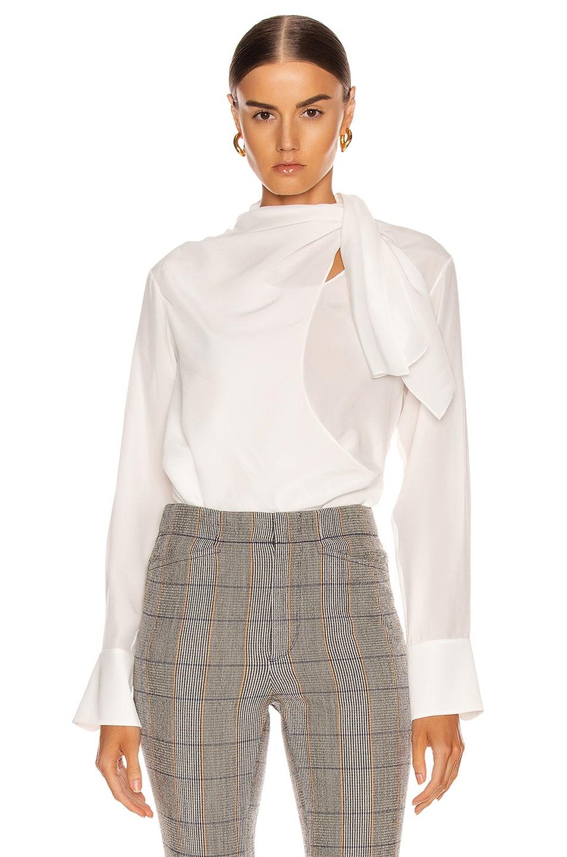 Image 1 of Chloe Long Sleeve Tie Top in Iconic Milk