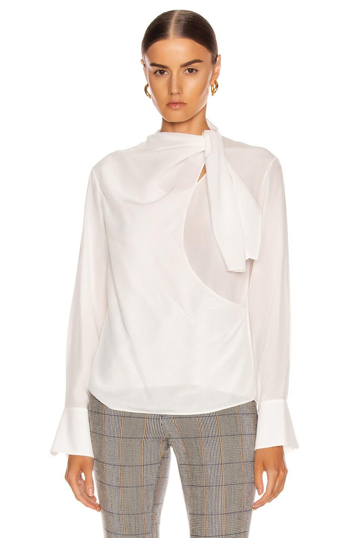Image 2 of Chloe Long Sleeve Tie Top in Iconic Milk