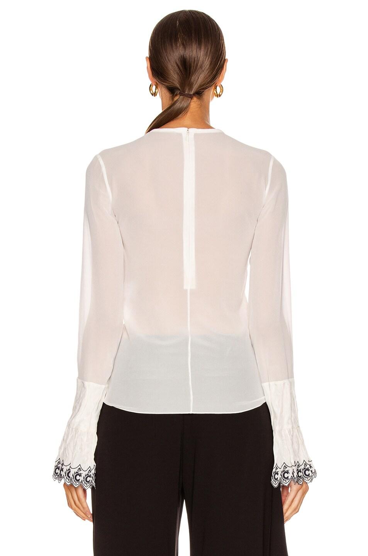 Image 3 of Chloe Long Sleeve Embellished Sleeve Top in White & Blue