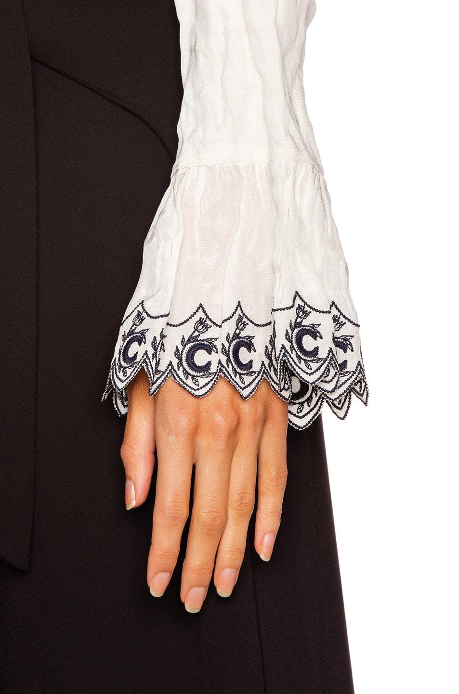 Image 5 of Chloe Long Sleeve Embellished Sleeve Top in White & Blue