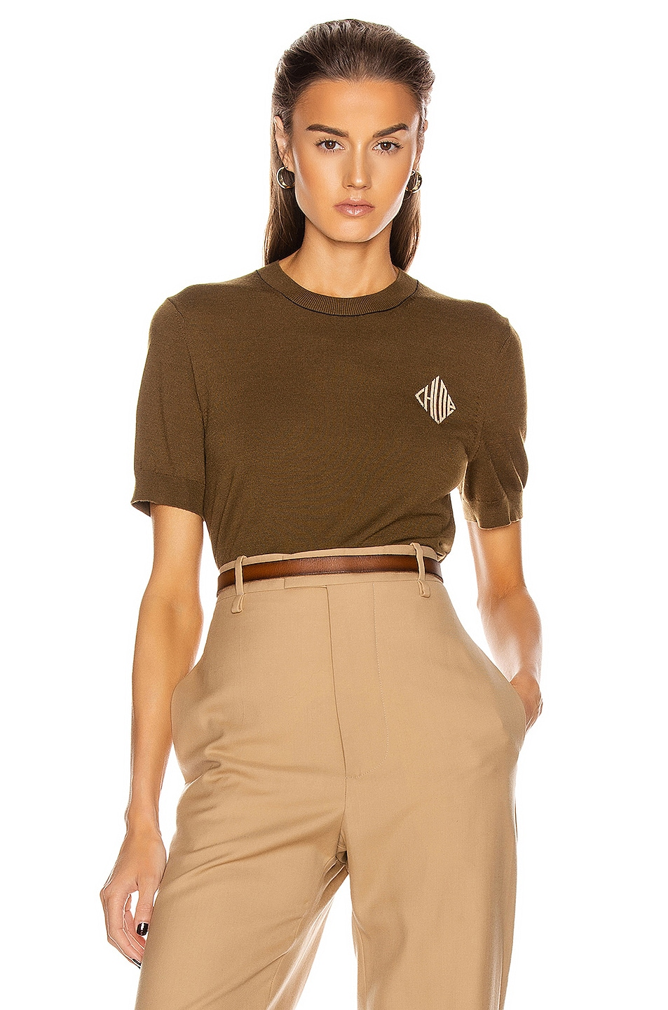Image 1 of Chloe Diamond Logo Top in Obscure Khaki