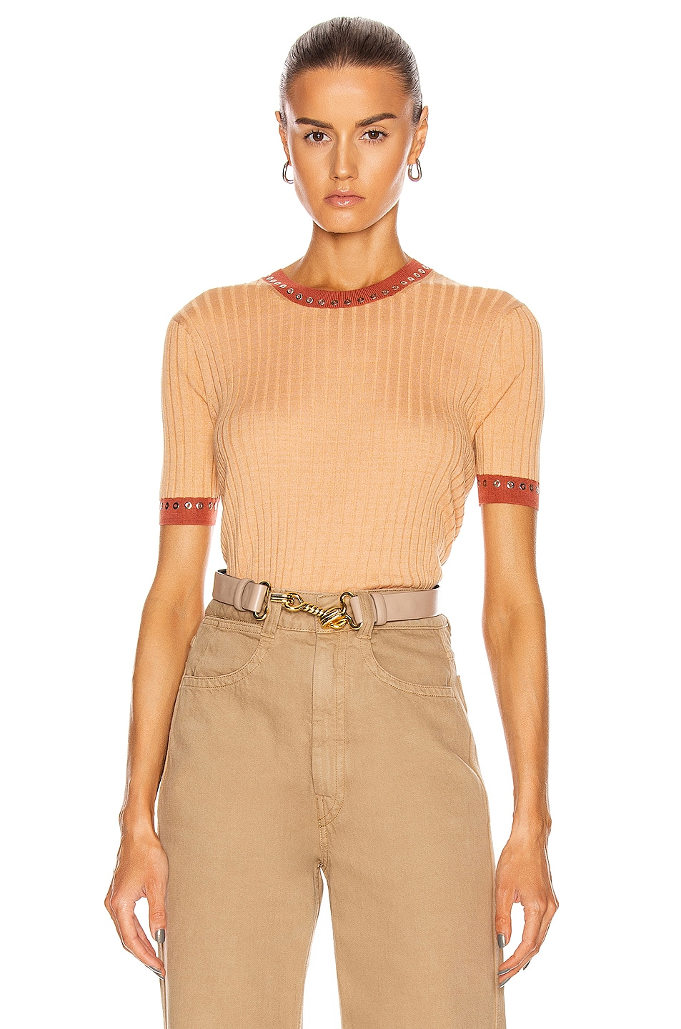 Image 1 of Chloe Rib Short Sleeve Top in Nude Orange