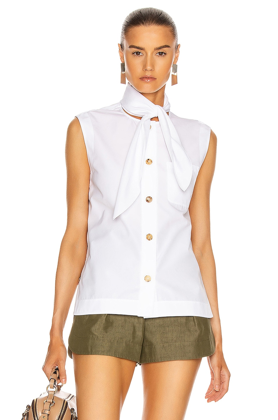 Image 1 of Chloe Sleeveless Tie Top in White